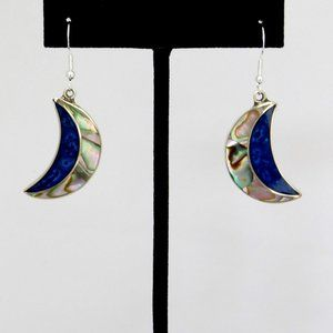 Mexican Earrings Crescent Abalone Blue Drop K19